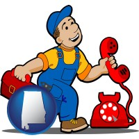 alabama map icon and a telephone repairman