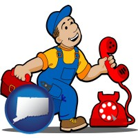 connecticut map icon and a telephone repairman