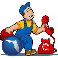 florida map icon and a telephone repairman