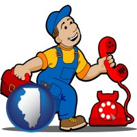 illinois map icon and a telephone repairman