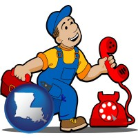 louisiana map icon and a telephone repairman
