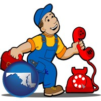 maryland map icon and a telephone repairman