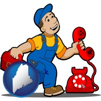 maine map icon and a telephone repairman