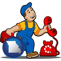 missouri map icon and a telephone repairman