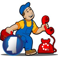 mississippi map icon and a telephone repairman