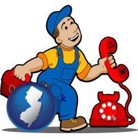 new-jersey map icon and a telephone repairman