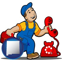 new-mexico map icon and a telephone repairman