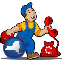 new-york map icon and a telephone repairman