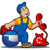 oklahoma map icon and a telephone repairman