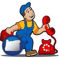 oregon map icon and a telephone repairman