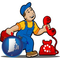 rhode-island map icon and a telephone repairman