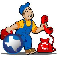 texas map icon and a telephone repairman