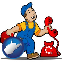 west-virginia map icon and a telephone repairman